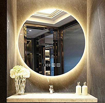 Mirror Illuminated Led Bathroom Anti Fog Wall Mounted Frameless Round Vanity Amazon Co Uk Kitchen Home Bathroom Mirror Mirror Wall Bathroom Mirror