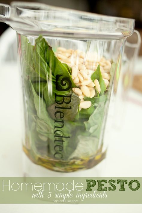 Homemade Pesto Sauce with 3 simple ingredients, so easy to make!  KristenDuke.com