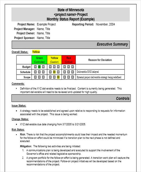 Monthly Project Progress Report Template 4