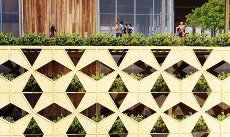 This green-roofed wooden tower tops an existing housing estate in Lagos and features a beautiful perforated wooden envelope.