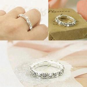 Kisswife 2019 Korean Elastic Bright Silver Imitation Rings Shining Full Rhinestone Finger Rings Diamond Bride Accessories Jewelry Stainless Steel Wedding Ring