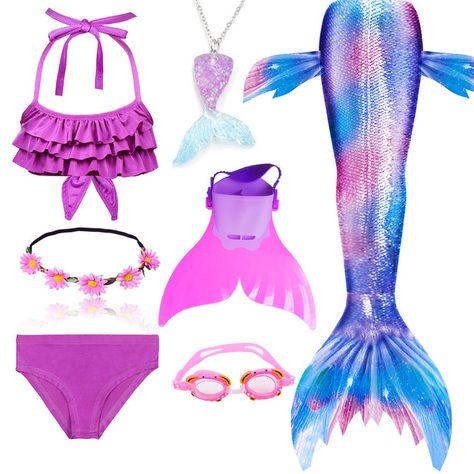 Kids Swimmable Mermaid Tail Girls Swimming Bating Suit Costume Swimsuit Can Add Monofin Fin Goggle With Garland - CosplayWare