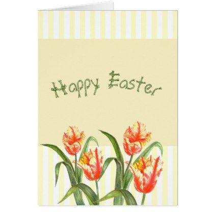 Watercolor Yellow Parrot Tulips Happy Easter Holiday Card Zazzle