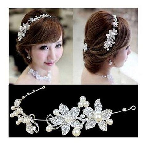 Calcifer® 1pcs Handmade Crystal Rhinestone+ Pearls Headdress Bridal Wedding hair accessories Headwear Headpiece Head Flower (White): Amazon.co.uk: Toys & Games