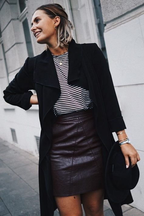 Outfit: Herbstlook mit Lederrock & Streifenshirt – fashion for ffranzy Outfit: Autumn Look with Leather Skirt & Striped Shirt – fashion for ffranzy