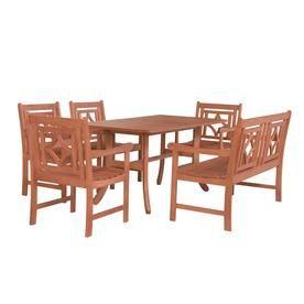 Vifah Malibu Outdoor 6 Piece Wood Patio Curvy Legs Table Dining Set V189set41 Patio Dining Set Wood Patio Table Wood Patio