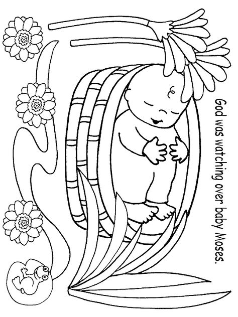 Bible coloring page baby moses preschool kid printables pinterest baby moses bible and sunday school