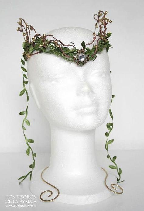 Wooland elf tiara elven headpiece fairy crown faun by Ayalga Elf Costume, Costume Makeup, Fairy Costumes, Dryad Costume, Poison Ivy Costumes, Fairy Crown, Fantasy Jewelry, Fairy Jewelry, Fantasy Hair