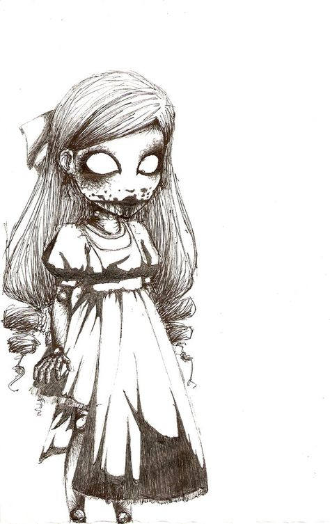 Scary Doll Drawing : scary, drawing, Ideas, Drawing, Creepy