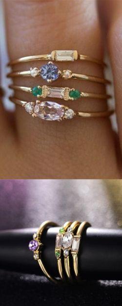 4 Pcs/set Crystal Zircon Gold Ring Set