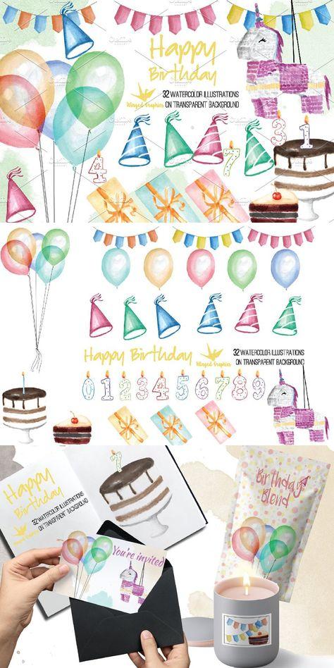 Birthday 32 watercolor illustrations
