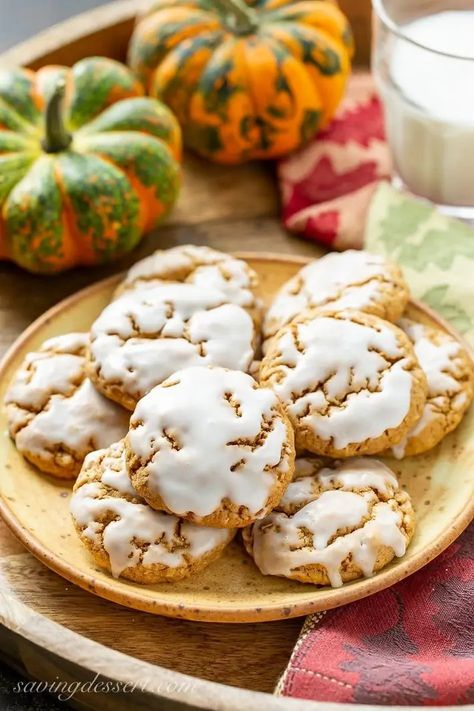 These delicious Spiced Pumpkin Oatmeal Cookies have it all with plenty of pumpkin flavor, loads of warm spices and a terrific texture and chewiness #pumpkincookies #pumpkinoatmeal #oatmealcookies #cookies #fallbaking #chewycookies #pumpkinspicedcookies #holidaybaking #freezercookies