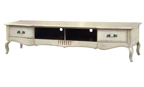 TV-Unterschrank Vintage - Birke massiv - Antik-Look - weiß - wohnzimmermobel weis