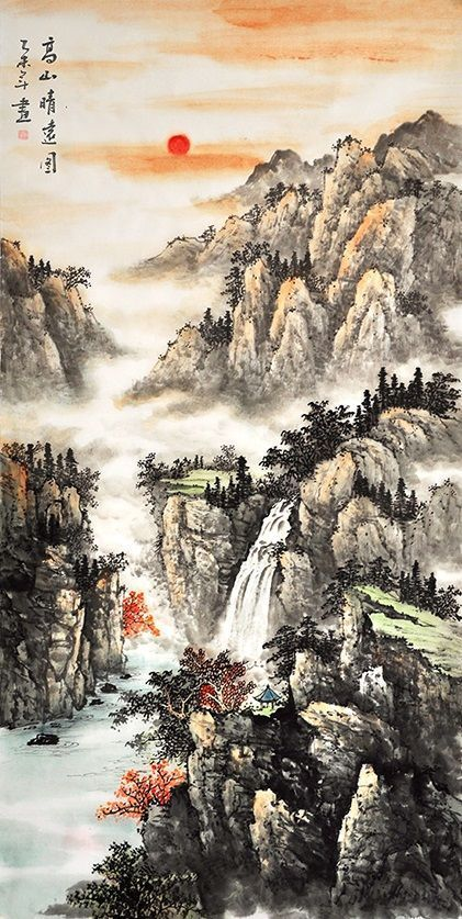 Chinese Scroll Painting Nature Art For Sale Scenery Landscape Painting Art Chinese Landscape Nature Painting In 2020 Chinese Landscape Painting Landscape Paintings