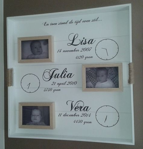 Een prachtig geboortebord van 3 meiden! Zelf gemaakt met geboortestickers van…