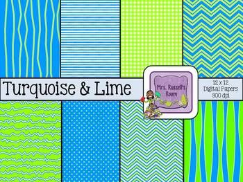Turquoise & Lime {8-12x12 Digital Papers for Commercial Use} FREEBIE