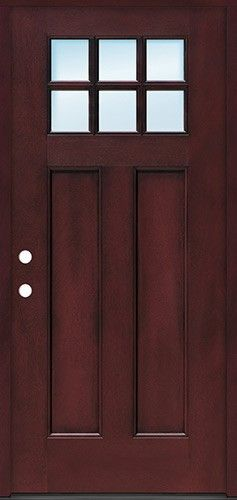 Craftsman 6 Lite Pre Finished Fiberglass Door Prehung In Pre Finished Jambs Fiberglass Door