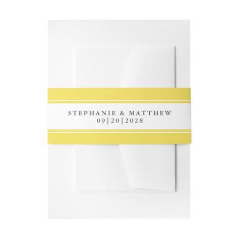 Elegant Wedding Chic Trendy Yellow Border #elegantwedding #yellowandwhite #frame #elegant #chicwedding #calligraphy #typography #simple #borders #mailing