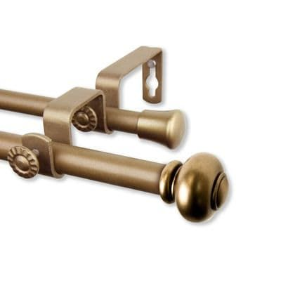 Yolanda Antique Gold 48 84 Double Curtain Rod Double Rod