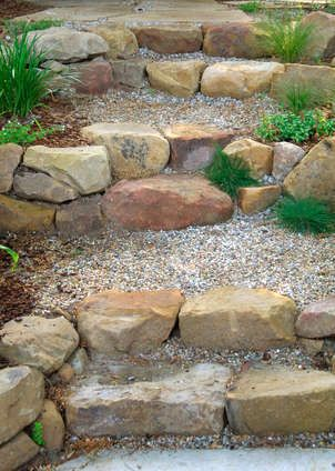 rock front step Stone And Pea Gravel Steps Design Ideas, Pictures, Remodel, and Decor - Gardening Front Steps Stone, Rock Steps, Outdoor Stone Steps, Hillside Landscaping, Landscaping With Rocks, Landscaping Ideas, Outdoor Landscaping, Dry Riverbed Landscaping, Railroad Ties Landscaping