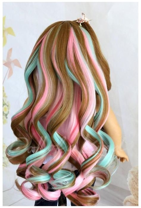 Your place to buy and sell all things handmade American Girl doll wig Bang Pink Pistachio Fits most doll.Gotz, Journey, OG doll, my life, Cute Hair Colors, Pretty Hair Color, Beautiful Hair Color, Hair Dye Colors, Under Hair Color, Doll Wigs, Doll Hair, American Girl, Unicorn Hair Color