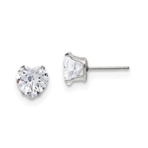 Stainless Steel CZ Polished Post Earrings