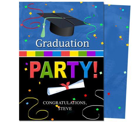 Graduation Party Invitations Templates: Confetti Graduation Party Announcement Template