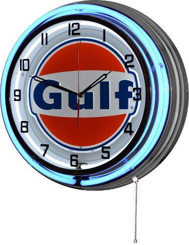 Retro 18 Blue Neon Gulf Oil Gas Service Station Garage Sign Man Cave Wall Clock Man Cave Wall Neon Clock Wall Clock Light