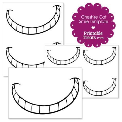 Printable Cheshire Cat Smile Alice In Wonderland Tea Party