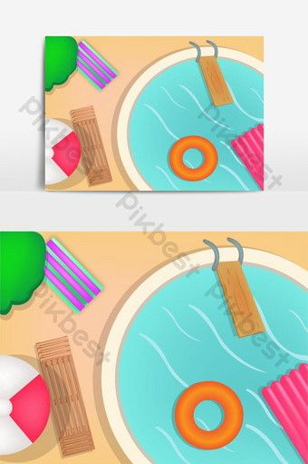 Summer Swimming Pool Cute Illustration Png Images Ai Free Download Pikbest In 2020 Cute Illustration Summer Swimming Pool Party Frame