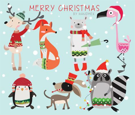 Woodland christmas,Christmas Clipart Instant Download PNG file - 300 dpi by HandMek on Etsy https://www.etsy.com/listing/210957016/woodland-christmaschristmas-clipart