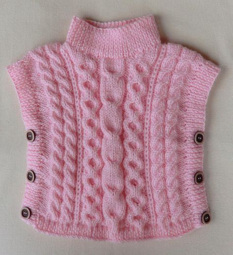 d43a87ee3d5 Poncho - Pull Tunique sans manches en laine Pour enfant bébé Fille Coloris  rose Taille  1 an et demi à 2 ans - (18 à 24 mois) Poncho tricoté à la main