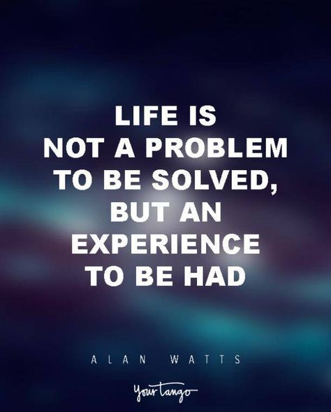 """15 Powerful Alan Watts Quotes Will Make You Rethink Your ENTIRE Life """"Life is not a problem to be solved, but an experience to be had."""" & offering a Collection of to Zen Quotes, Life Quotes To Live By, Spiritual Quotes, Wisdom Quotes, Words Quotes, Positive Quotes, Motivational Quotes, Inspirational Quotes, Change Quotes"""