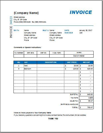 Excel Invoice Templates Invoice Sample Invoice Template