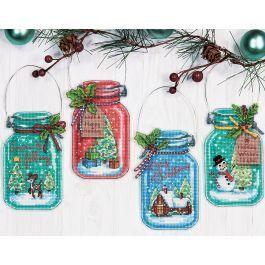 Mary Maxim Christmas Jar Ornaments Plastic Canvas Kit Plastic Canvas In 2020 Cross Stitch Christmas Ornaments Cross Stitch Kits Ornament Kit