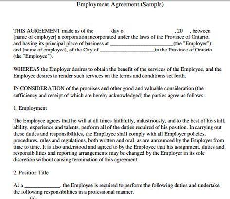Waitress Employment Contract Sample
