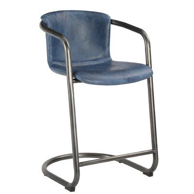 17 Stories Geneva Bar Counter Stool Colour Blue Seat Height