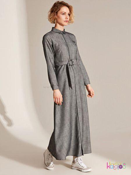 Dokulu Kumastan Kusakli Uzun Gomlek Elbise 2020 Gomlek Elbise Elbise Uzun Elbise
