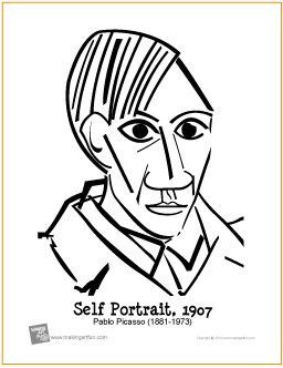Self Portrait Picasso Free Printable Coloring Page