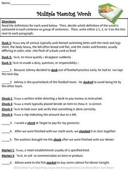 Multiple Meaning Words Dictionary Skills Multiple Meaning Words Dictionary Skills Words
