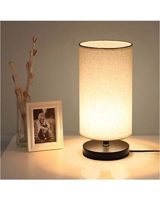 Ideas For Bedside Table Lamps With Night Light Deeplite Table Lamp With Fabric Shade Wooden Base With 7w 300 Bedside Table Lamps Night Table Lamps Table Lamp