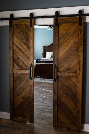 Solid Cypress Sliding Chevron Barn Doors Built To Order Wood Doors Interior Barn Doors Sliding Sliding Doors Interior