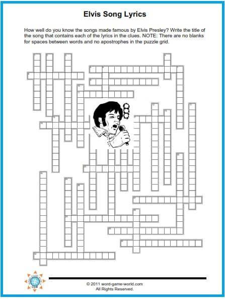 Fun Music Crossword Puzzles Crossword Puzzles Elvis Presley S Birthday Crafts For Seniors