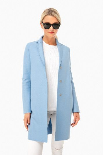 Baby Blue Light Wool Cocoon Coat Harris Wharf London Blue Coat Outfit Light Blue Jacket Outfit Blue Jackets Outfits