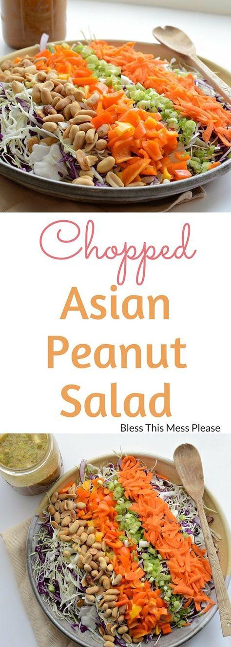 Chopped Asian Peanut Salad with Homemade Peanut Dressing - Vegetarian #asiansalad #healthy #glutenfree #blessthismessplease
