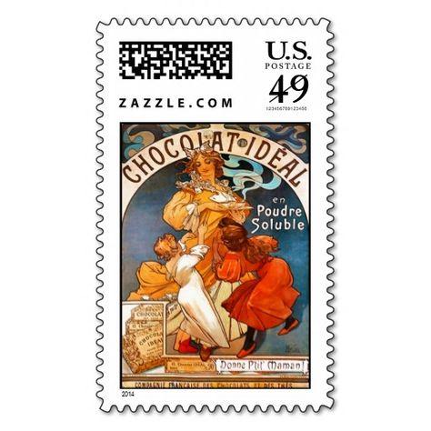 Chocolat Ideal Alphonse Mucha Postage Stamp Zazzle Com