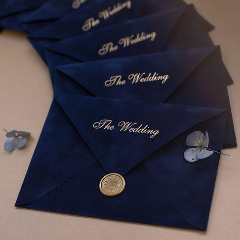 Navy Blue Velvet envelopes as a part of wedding invitation kit Velvet Wedding Invitations, Pocket Wedding Invitations, Wedding Envelopes, Printable Wedding Invitations, Wedding Cards, Unique Wedding Invitation Wording, Invitation Suite, Invitation Design, Wedding Stationery