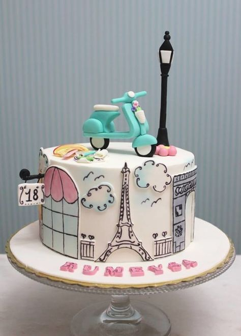Vespa Paris Themed Cake - sketch line art paint on cake skyline Eiffel Tower Vespa French France Light Pole
