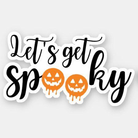 Halloween Vinyl 2020 Let's Get Spooky Halloween Jack o lanterns Sticker | Zazzle.in