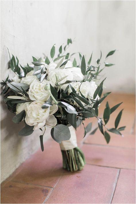 Neutral Romantic Wedding Bouquet of White Peonies and Olive Leaf at Summerour Studio Wedding in Atlanta Georgia